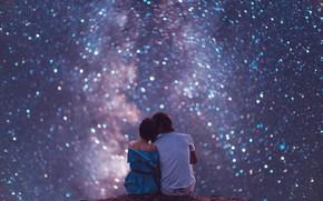 Picture the sky, girl, stars, guy, lovers, starry sky, Kristina Makeeva