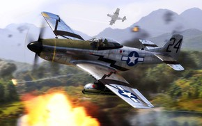 Picture Mustang, USA, P-51D, The Engine Packard V-1650-7, 6x 12.7 machine guns Browning, 6x missiles M8
