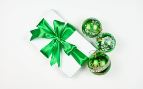 Picture balls, box, gift, New year, bow