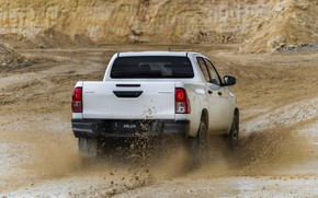 Picture white, squirt, dirt, back, Toyota, pickup, Hilux, Special Edition, 2019