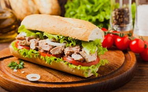 Picture food, bow, meat, sandwich, lettuce, cutting Board, tomatoes-cherry