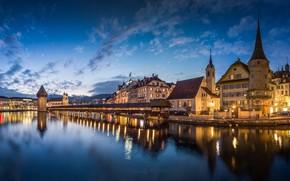 Picture night, lights, lake, building, Switzerland, promenade, Lucerne