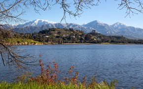 Picture the sky, grass, the sun, trees, mountains, branches, lake, hills, shore, home, USA, Bonelli Regional …