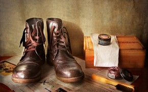 Picture style, box, shoes, shoes, newspaper, still life, brush, Shoe