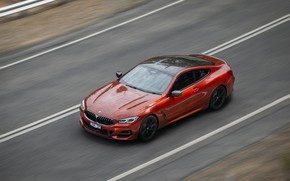 Picture movement, coupe, speed, BMW, 2018, 8-Series, 2019, dark orange, M850i xDrive, Eight, G15