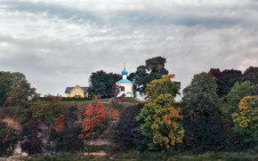 Picture trees, clouds, Church