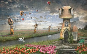 Picture balloons, Swan, photoart