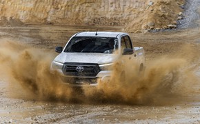 Picture white, puddle, dirt, Toyota, pickup, Hilux, Special Edition, 2019