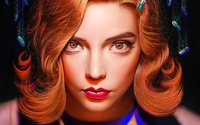 Picture look, portrait, actress, art, the series, redhead, Anya Taylor-Joy, Ход королевы, The Queen's Gambit, Yaşar …