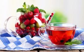 Picture berries, tea, Cup