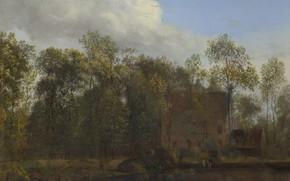 Picture landscape, nature, picture, Jan van der Heyden, Jan van der Heyden, A farm among Trees