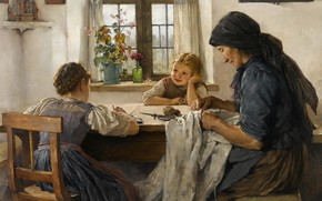 Picture 1883, German painter, German painter, oil on canvas, Max Hammerl, A letter to my father, …