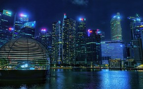 Picture building, Bay, Singapore, night city, skyscrapers, Singapore, Marina Bay, Marina Bay