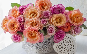 Picture love, flowers, heart, roses, bouquet, colorful, love, pink, heart, pink, flowers, beautiful, romantic, roses