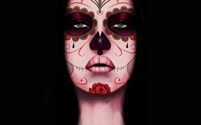 Picture Girl, Style, Face, Eyes, Background, Calavera, Digital Art, Day of the Dead, Day of the …