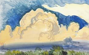 Picture 1917, Charles Ephraim Burchfield, Sunset Landscape