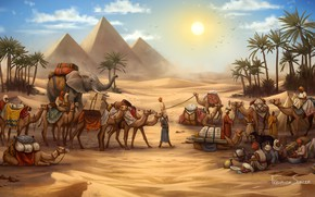 Wallpaper Figure, The game, Caravan, Pyramid, Egypt, Elephant, Art, Game, Illustration, Camels, Game Art, Board Game, ...