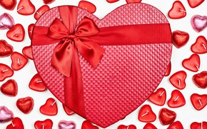 Picture gift, heart, candy, hearts, red, white background, bow, ribbon, День святого Валентин