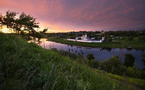 Picture landscape, nature, river, dawn, morning, the monastery, Bank, Volga