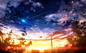 Picture sunset, nature, shooting star