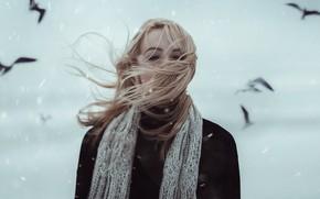 Picture girl, snow, birds, hair, Alexander Shark, SIMA