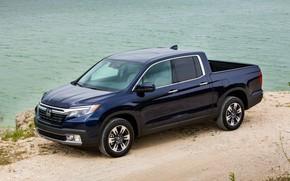 Picture Honda, pickup, on the shore, dark blue, Ridgeline, 2019