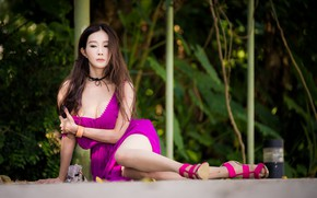 Picture sexy, dress, Asian, knees