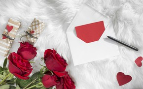 Picture letter, Love, roses, gifts, hearts, the envelope