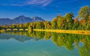Wallpaper autumn, trees, mountains, bridge, reflection, river, Germany, Bayern, Germany, Bavaria, Bavarian Alps, The Bavarian Alps, ...