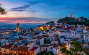 Picture the sky, trees, the city, home, the evening, roof, tower, Spain, evening, houses, Spain, Malaga