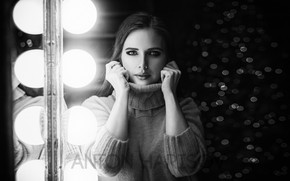 Picture look, light, pose, glare, lamp, model, portrait, hands, makeup, hairstyle, black and white, beauty, sweater, …