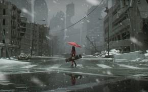 Picture cold, winter, the wreckage, girl, snowfall, postapokalipsis, red umbrella, case, the gray sky, crosswalk, gray …