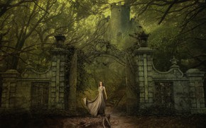 Picture girl, trees, branches, old, fog, retro, rendering, castle, fantasy, past, the fence, tower, gate, the …