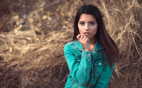 Picture grass, look, the sun, nature, pose, background, model, portrait, makeup, brunette, hairstyle, beauty, bokeh, dzhinsovka, …