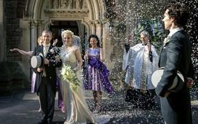 Picture photo, petals, Sherlock Holmes, Martin Freeman, Benedict Cumberbatch, Sherlock, Sherlock BBC, Sherlock Holmes, the bride …