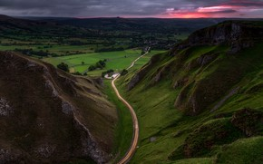 Picture road, summer, the sky, sunset, mountains, clouds, rocks, hills, the slopes, field, height, the evening, …
