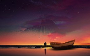 Picture Sea, Stars, Mountain, People, Boat, Shore, Dawn, Silhouette, Art, Sunrise, Digital Art, Concept Art, Hani …