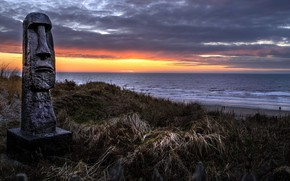 Picture sea, shore, statue, Netherlands, North Holland, Zandvoort
