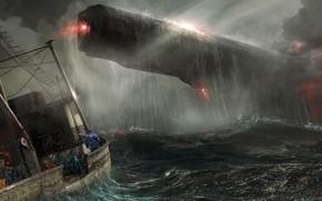 Wallpaper Sea, Storm, The ship, Fantasy, Art, Art, Spaceship, Fiction, Concept Art, Spaceship, Vehicles, Science Fiction, ...