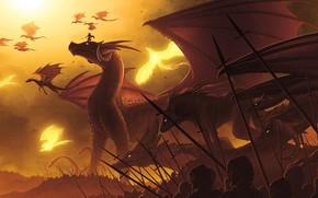 Picture fantasy, soldiers, horns, flying, phoenix, wings, army, weapons, digital art, artwork, warriors, fantasy art, spears, …