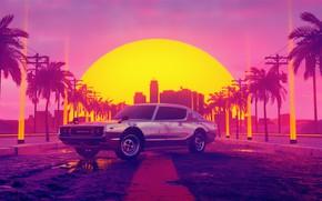 Picture Sunset, Auto, Music, Machine, Style, Dawn, Background, Car, 80s, Sun, Style, Datsun, Neon, Illustration, Vice ...
