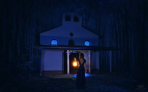 Picture forest, girl, night, lantern, chapel, Milen Dobrev
