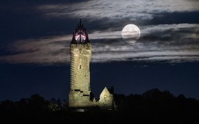 Picture Sterling, Lunar, Night Sky, Wallace Monument
