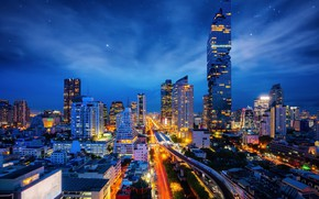 Picture the sky, night, building, Thailand, Bangkok