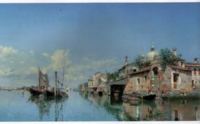 Picture boats, pier, VENICE, FIELD, MURANO