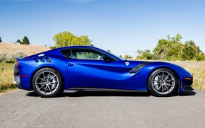 Picture road, blue, sports car, side view, Gran Turismo, Ferrari F12 TDF