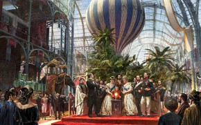 Picture fantasy, game, magic, trees, people, train, men, painting, palm trees, artwork, elephant, architecture, fantasy art, …