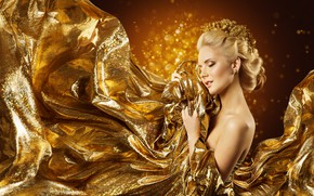 Picture girl, style, gold, model, makeup, Inara Prusakova