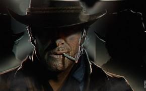 Picture hat, art, cigarette, cowboy, Red Dead Redemption 2, RDO, Arthur Morgan