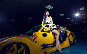 Picture look, Girls, Nissan, Asian, beautiful girl, yellow car, posing on the car